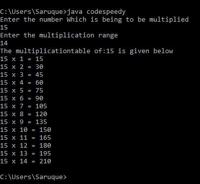 Make A Multiplication Table Using Java Program Codespeedy