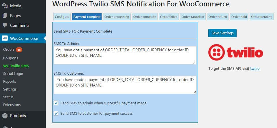WooCommerce Twilio Payment Complete SMS