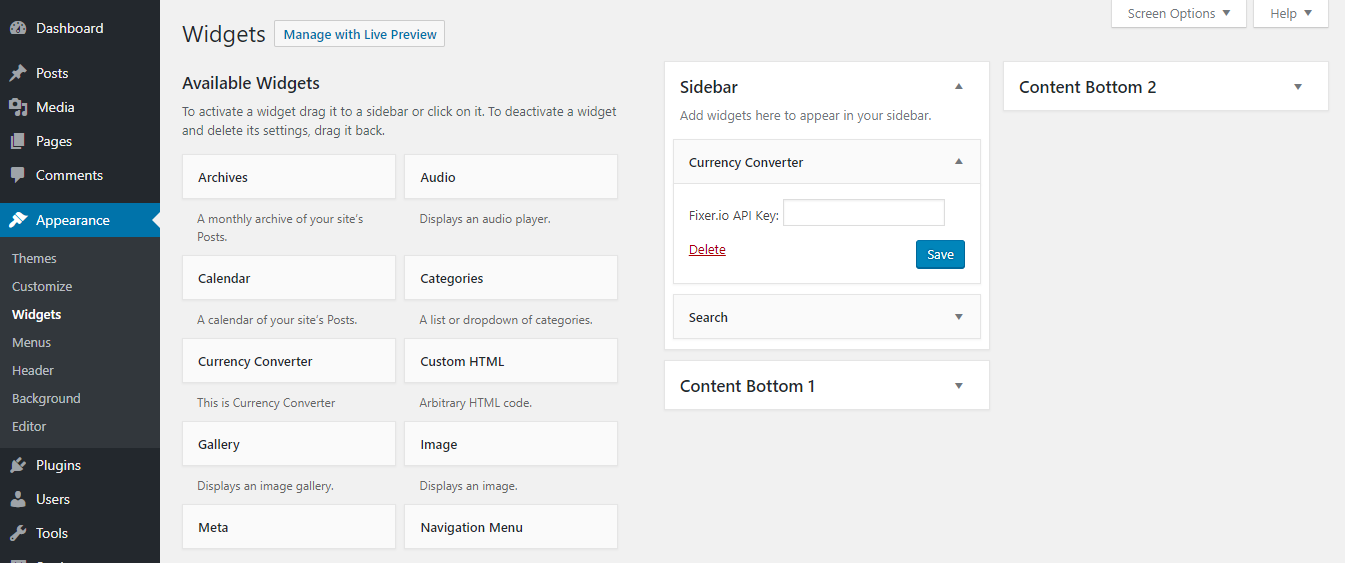 Admin panel of currency converter wordpress plugin