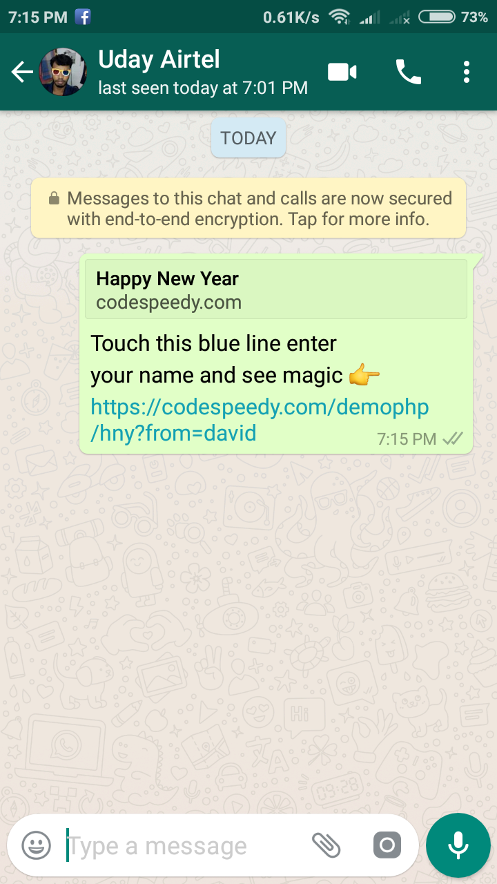 happy new year javascript whatsapp share