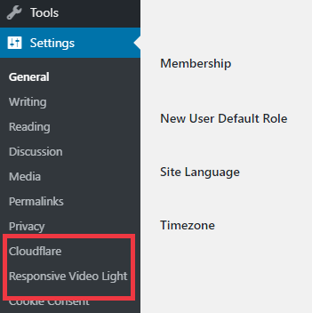 WordPress Settings Submenu