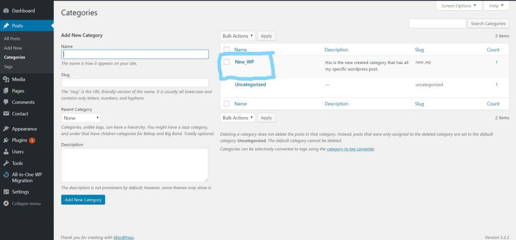 Wordpress post category