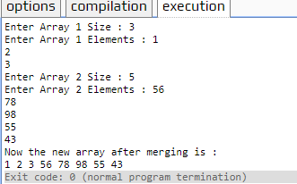 merge two arrays in C++