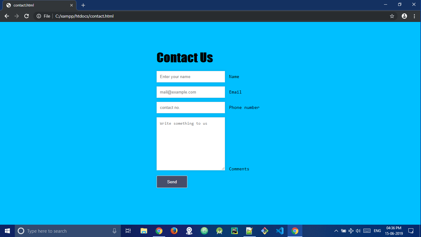 Create a simple contact form in PHP with MySQL