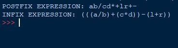 Inter-Conversion of Postfix and Infix Expression in Python