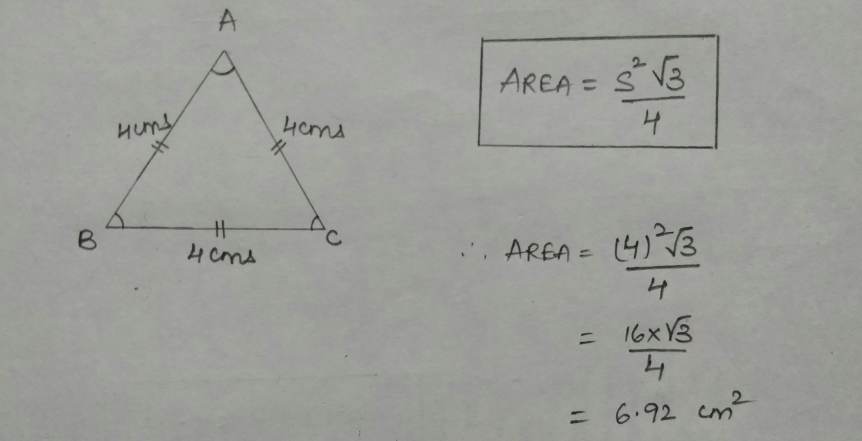 triangle is an equilateral triangle the area of the triangle