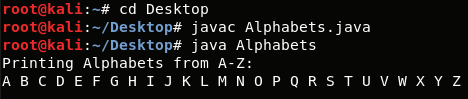 How to Print Alphabets A-Z using loops in Java