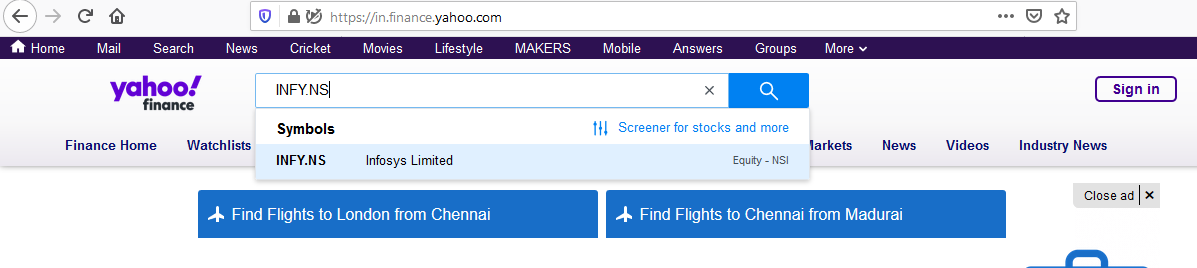 search for company in yahoo finance