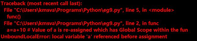 error message in python