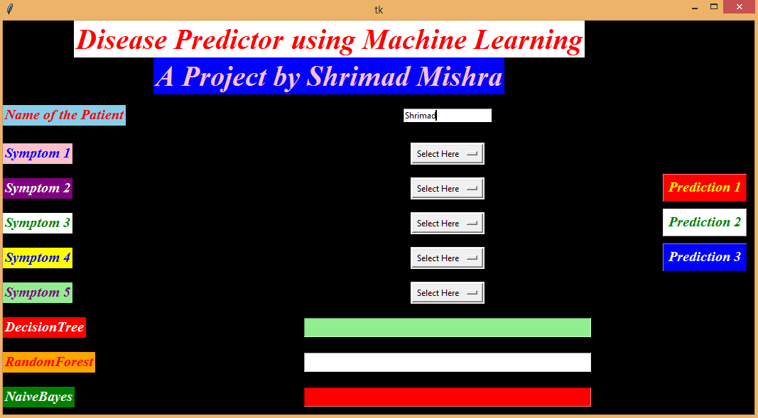 Disease Prediction Using Machine Learning In Python Using GUI machine learning