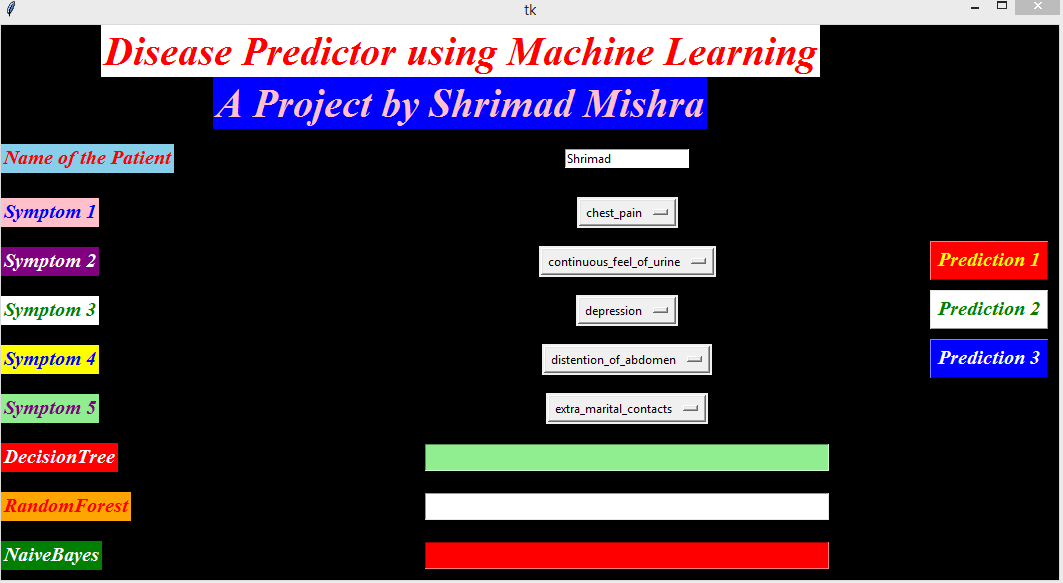 Disease Prediction Using Machine Learning In Python Using GUI