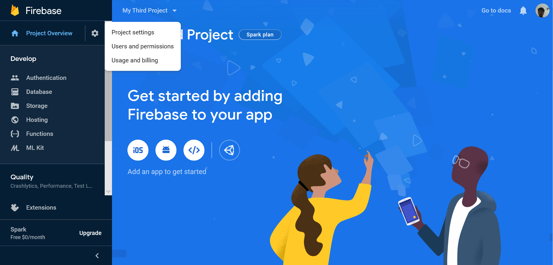 project settings in firebase