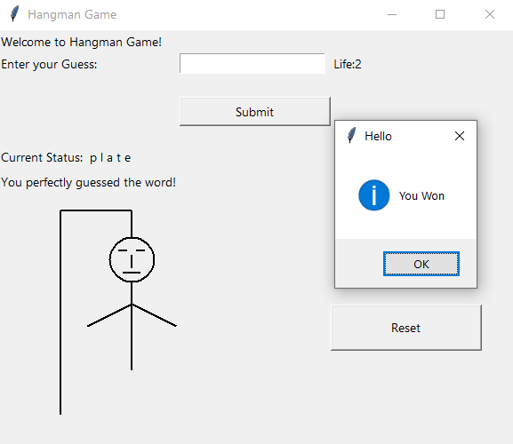 Hangman Game with GUI in Python using Tkinter