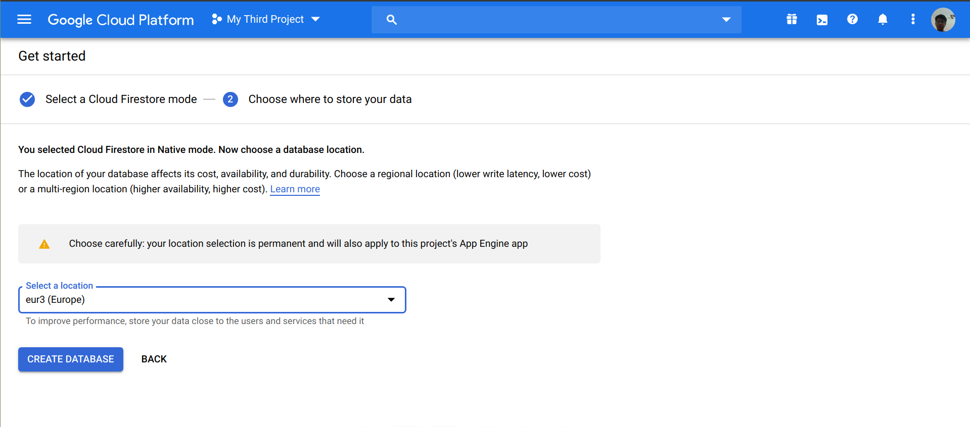 Select a database location in Firebase