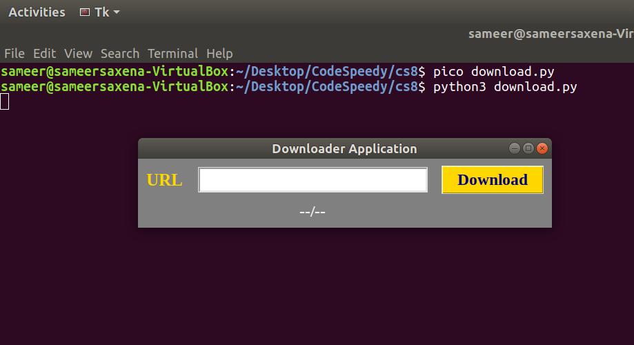 GUI Downloader Application using Tkinter in Python