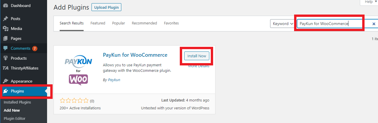 PayKun for WooCommerce plugin search