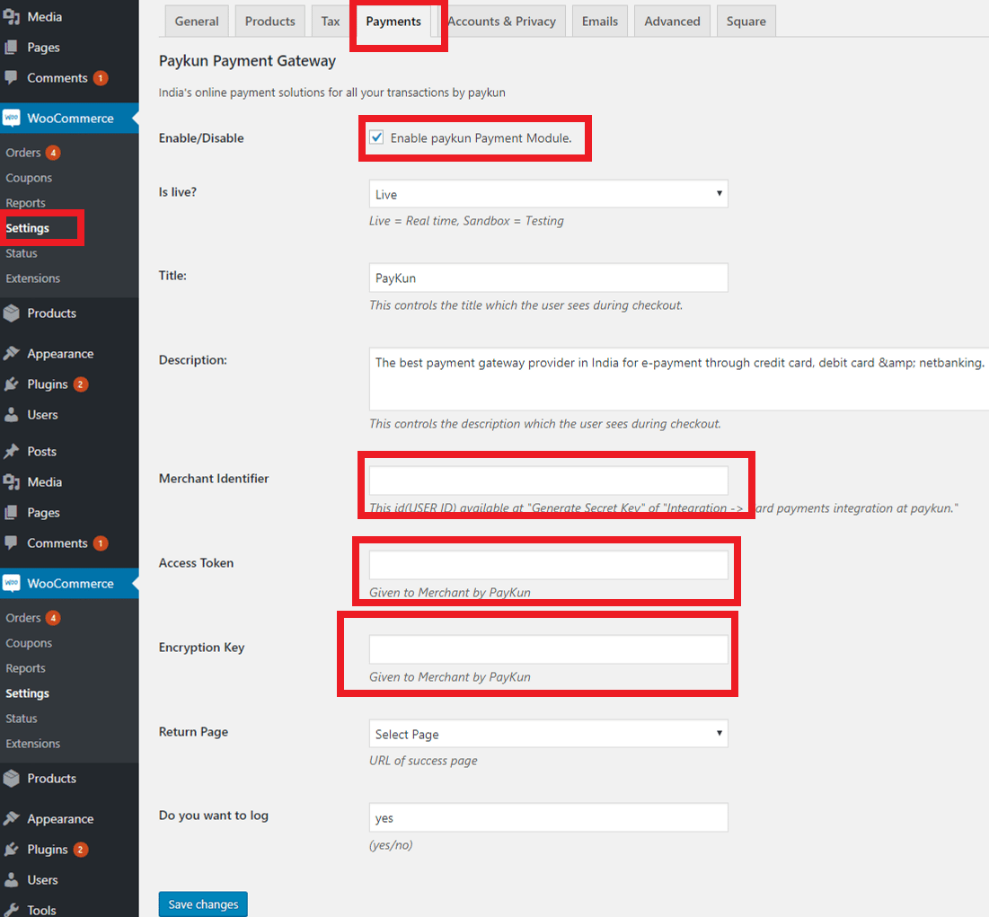 Paykun for WordPress WooCommerce plugin settings.png