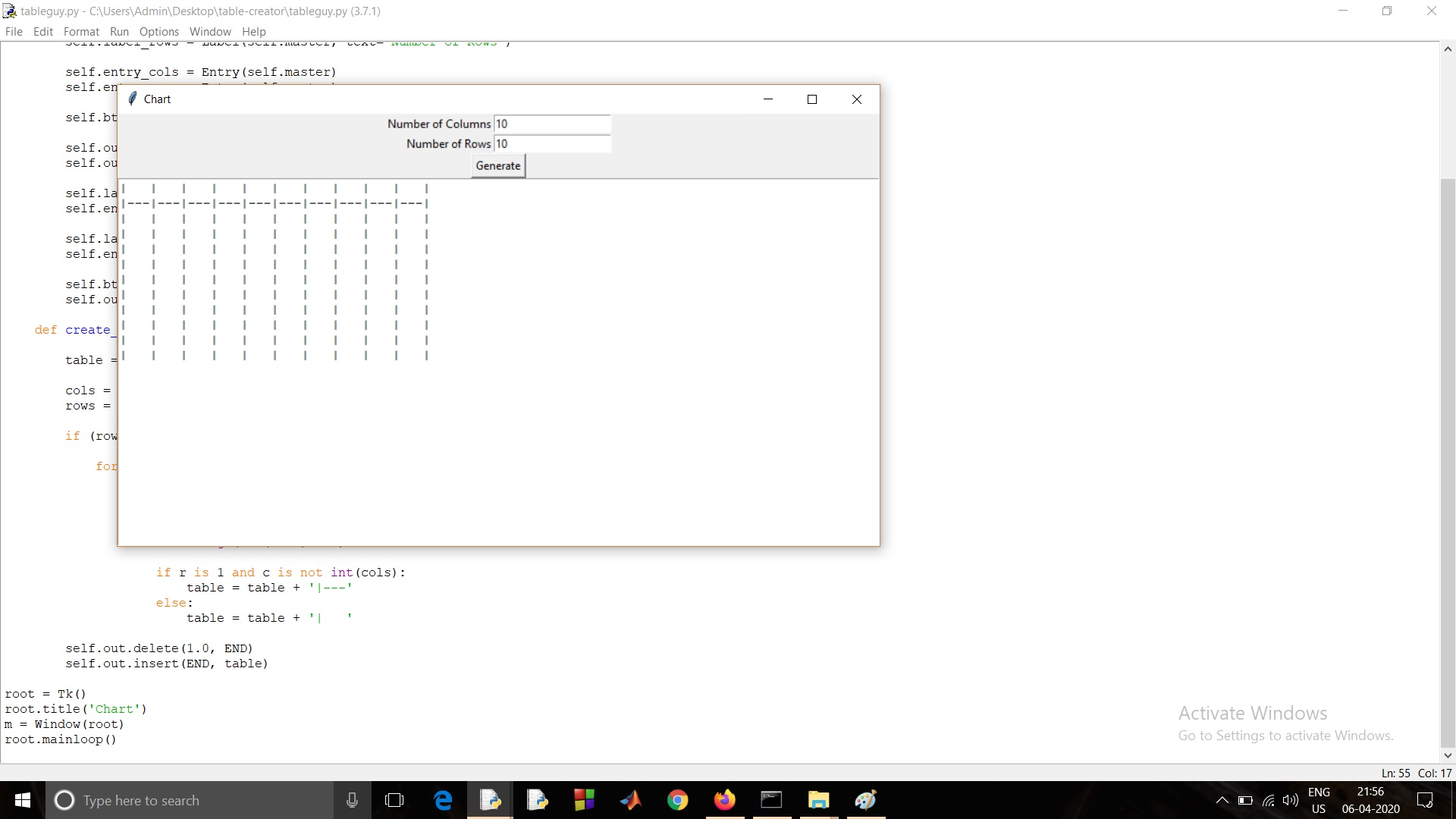 Create a table in Tkinter in Python