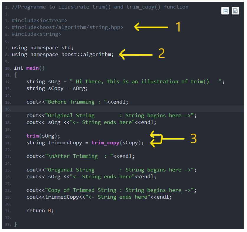 Trim Strings - Boost String Algorithm in C++