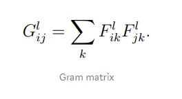 Gram matrix of representation