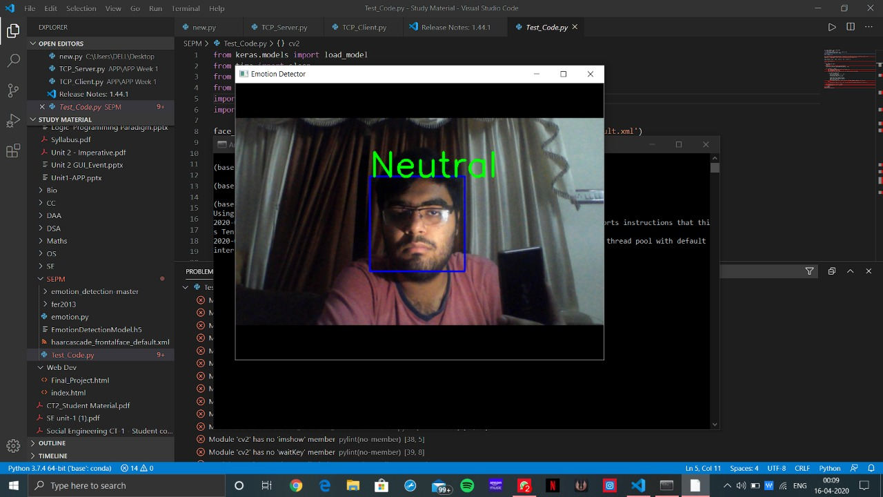 Emotion Prediction using webcam with Machine Learning in Python