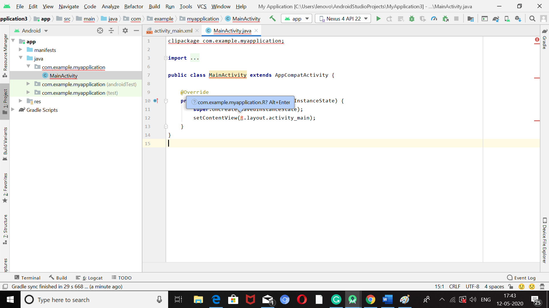 Create project in android studio