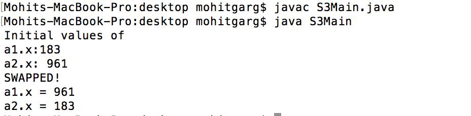 swap java objects Bitwise XOR