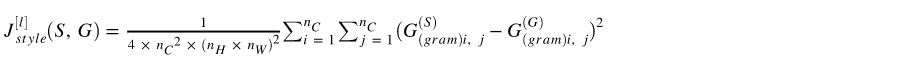 style cost function formula of gram matrix