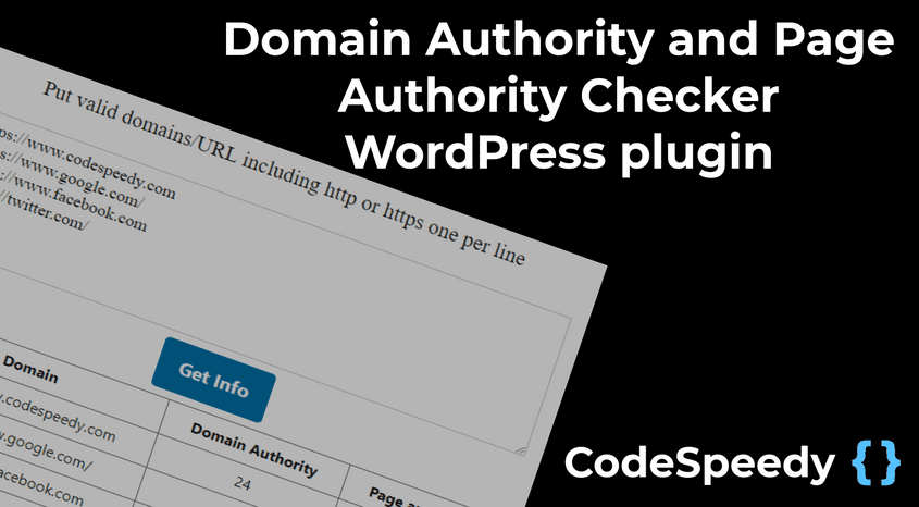 Domain Authority Checker WordPress plugin