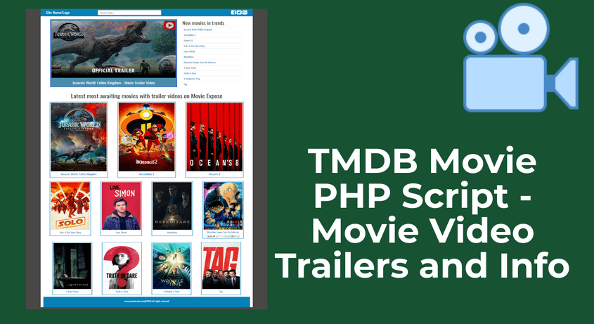 TMDB Movie PHP Script - Movie Video Trailers and Info